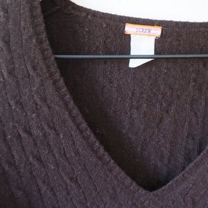 J. Crew Cashmere Cable Knit V-Neck Sweater